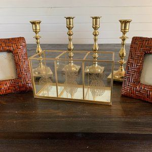 Vintage Bamboo / Rattan Photo Frames and Glass Box